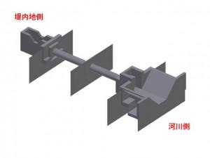 樋門を3Dで作図したイメージ図(河川側から見ています)